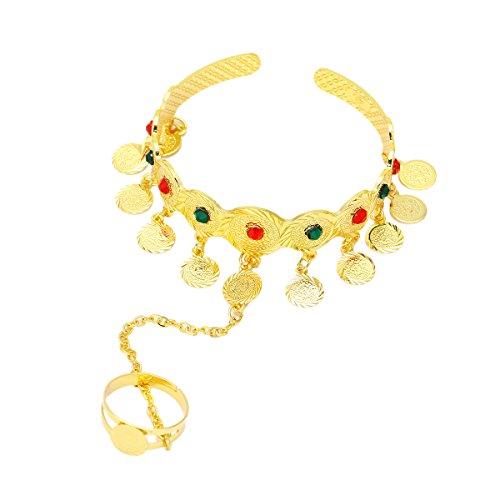 Goldmünzen-Armband, arabisches Armband, Schmuck, Armreif, Armband mit rot-grünem Strass