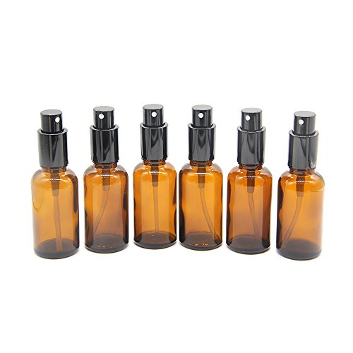 Yizhao 1oz Amber Glass Spray Bottle for Essential Oils,Empty Refillable Spray Bottles with Fine Mist for Aromatherapy,Perfume,Massage,Hair,Pet,Chemical–6 Pcs