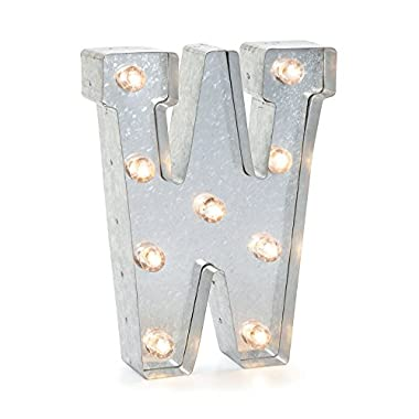 Darice Silver Metal Marquee Letter W – Industrial, Vintage Style Light Up Letter Includes an On/Off Switch, Perfect for Events or Home Décor (5915-750)