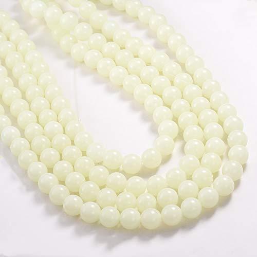 100 cuentas redondas de cristal de 8 mm/10 mm que brillan en la oscuridad, cuentas de cristal para hacer joyas, para pulseras, collares u otros