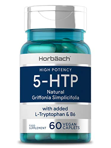 5HTP 200mg + L-Tryptophan 400mg & Vitamin B6 | 60 Vegan Tablets | High Strength Griffonia Seed Extract | Non-GMO, Gluten Free Supplement