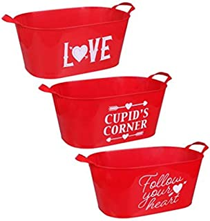 CFactory Three Different Wordings Adults Teens Children Valentines Day Red Plastic Sentiment Buckets with Handles, 13 in.