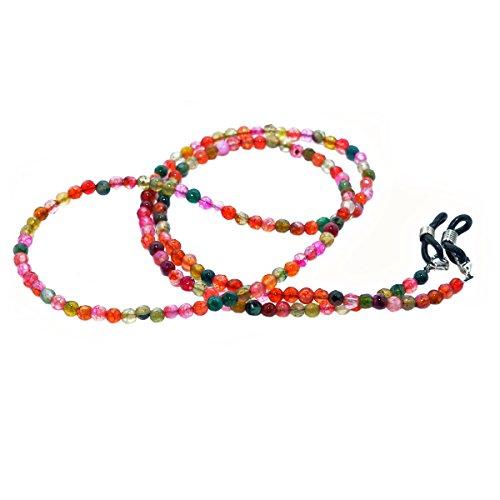 rainbow safety Brillenkette Brillenband Brillenhalter Schlangenkette Natürliche Edelstein Perlen Amazonit Achat Tigerauge Amethyst RC (Agate Light)