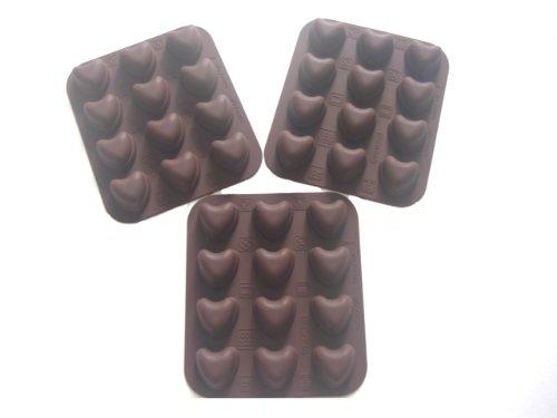 Siliconen bonbonvormen set van 3, 12 x 14 cm bestaande uit 3 vormen met 12 hartjes, van - 60 °C tot + 280 °C temperatuurbestendig