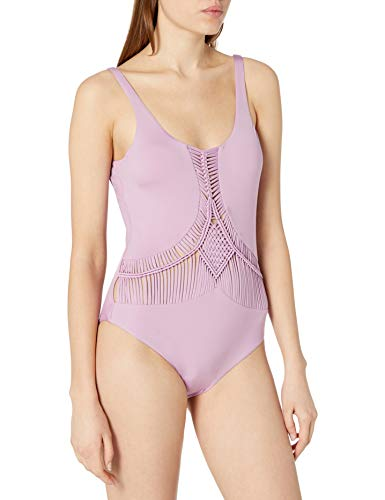 Dolce Vita Women's Macrame One Piece Swimsuit, Jungle Beat Lavender, Large