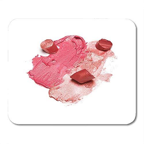 Mauspad Pink Peach Verschiedene Farben Muster Von Verschmiertem Und Geschnittenem Lippenstift Auf Weißer Lippe Make-Up-Produkt Braune Mausmatte Mousepad Office Mousepad Buntes Ged