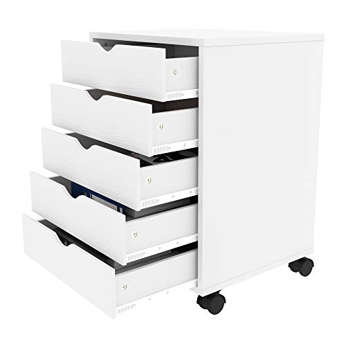 YITAHOME 5 Drawer Chest, Mobile File Cabinet with Wheels, Home Office Storage Dresser Cabinet, White