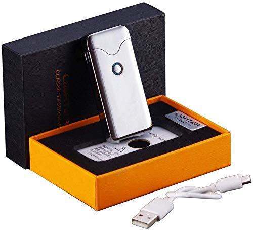 Aansteker USB Arc aansteker oplaadbare vlamloze winddichte plasma-spoel elektrische sigarettenaansteker 2 in 1 touch (goud) zilver