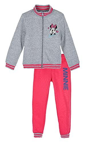 Sun City Minnie Mouse Jogging-Anzug Sweat-Jacke mit Jogging-Hose Trainings-Anzug, Farbe:Grau, Größe:128