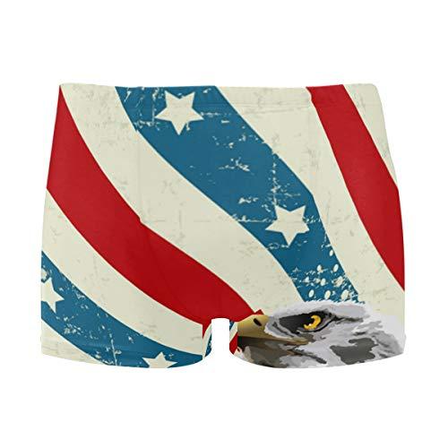 Bald Eagle American Flag Men's Jammer Swimsuit Solid Square Leg Swimwear Surf Black