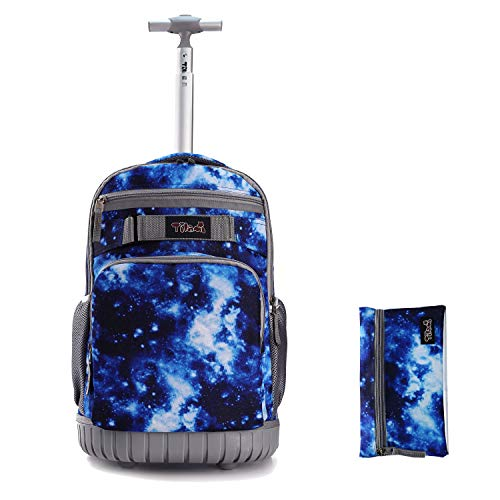 Tilami Rolling Backpack 18 inch with Pencil Case Wheeled Laptop Bag, Galaxy Blue