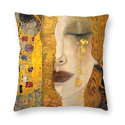 Funda de almohada de lujo divertida y colorida con cremallera en ambos lados, con diseño de The Kiss by Gustav Klimt Boudoir de 45,7 x 45,7 cm