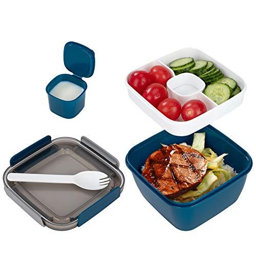 QH-Shop Recipiente para Ensaladas con Aderezo y Cubiertos Ensaladera a Prueba De Fugas para Llevar con 2 Compartimentos para Aderezos y Bocadillos Azul