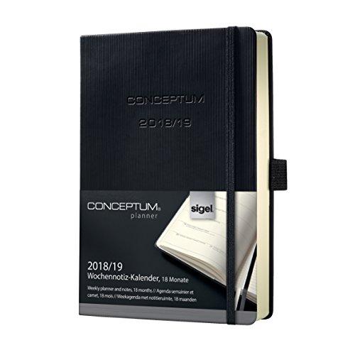 Sigel C1903 Agenda semanal 18 meses 2018 / 2019 y cuaderno, tapa dura, 14,8 x 21,3 cm, negro