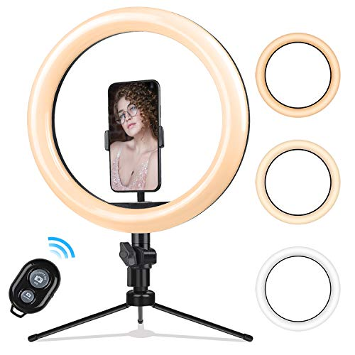 10.2 Zoll Selfie Ringlicht mit Stativ - Rovtop LED Ringlicht für Handy,Tisch Ringleuchte mit Handyhalter und Fernbedienung, für Make-up,Live-Streaming,YouTube, Tiktok, Vlog und Fotografie
