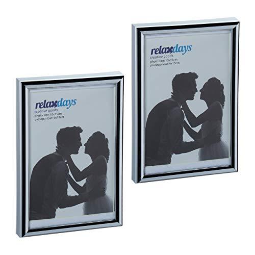 Relaxdays Bilderrahmen 2er Set, 10x15 cm, Passepartout 9x13 cm, Glasscheibe, Fotorahmen zum Stellen & Hinhängen, Silber