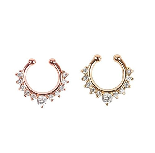 Honbay 2 Piece Clip on Jewelry Creative Fake Septum Clicker Nose Ring