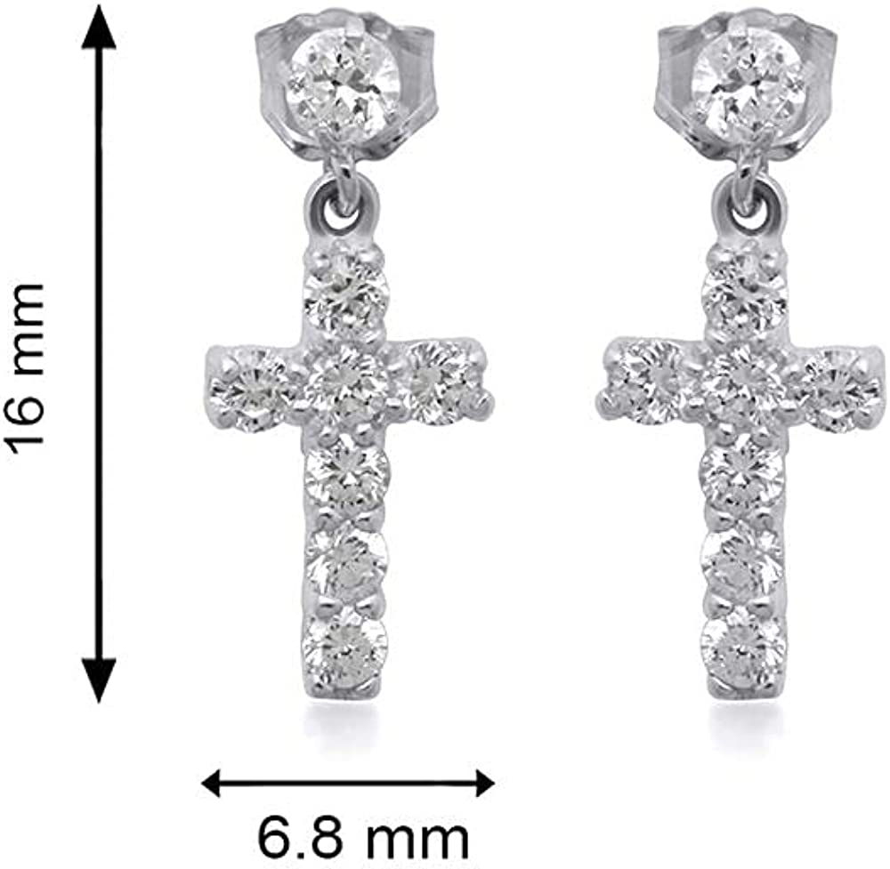 Jewelili 10K Gold 2 MM and 3 MM Round White Cubic Zirconia Cross Dangle Earrings