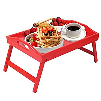 Artmeer Breakfast Tray Folding Legs with Handles Kids Bed Tray Table for Sofa Eating,Drawing,Platters Bamboo Serving Lap Desk Snack Tray  Red