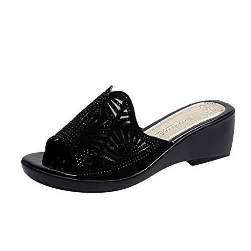 ✿✿Eaylis Damen Sandalen Piste Mit Dickbesohlten Schuhen, Hausschuhe Von Mutter Mittleren Alters Sommer Strand Schuhe Hausschuhe Stilvoll Und Elegant