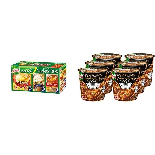 【セット買い】クノール カップスープ バラエティボックス 30袋入 + クノール スープDELI デミグラスソースのブラウンシチュー パスタ入り 42.9g×6個