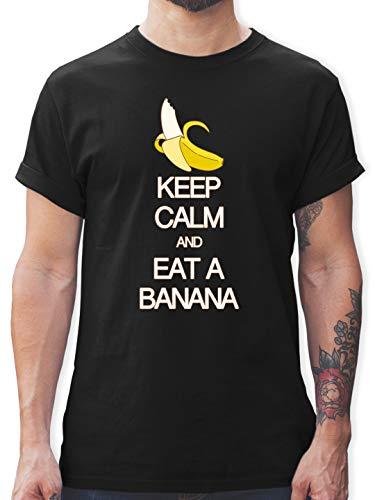 Keep Calm - Keep Calm and eat a Banana - M - Schwarz - Rundhals - L190 - Tshirt Herren und Männer T-Shirts