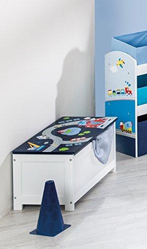 roba Spielzeug-Truhe 'Rennfahrer', Sitz-& Aufbewahrungs-Truhe fürs Kinderzimmer, Truhenbank Auto blau - 3