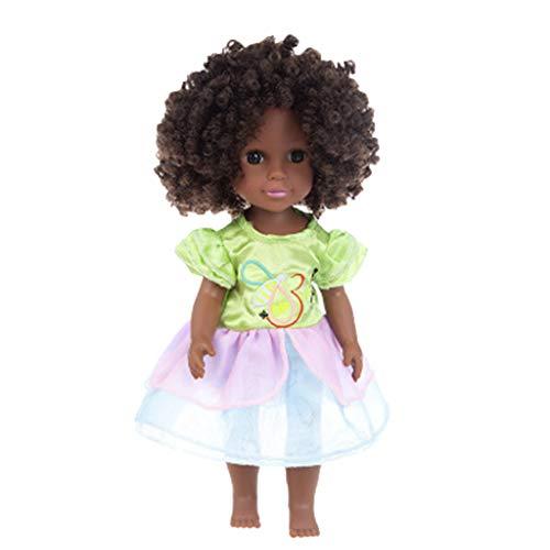 FunAloe Schwarz Puppe African American Spielen Puppe,35 cm Lebensechte Baby Puppen für Kinder Kinder Spielzeug Schwarze Mädchen Mode Baby Puppe (C)