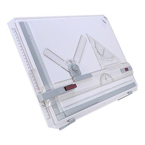 Cikonielf A3 Table à Dessin avec Mouvement Parallèle et Règles à Angle Réglable,Planche à Dessin Technique,Outil de Dessin Multifonctionnel