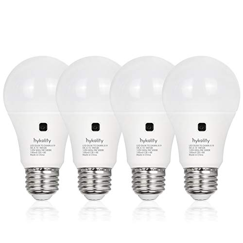 4 Pack Dusk to Dawn A19 LED Light Bulb 60 Watt Equivalent, Auto On/Off Photocell Light Sensor Bulb, 9W, 3000K Warm White, 800LM, E26 Base, Non-Dimmable, UL Listed