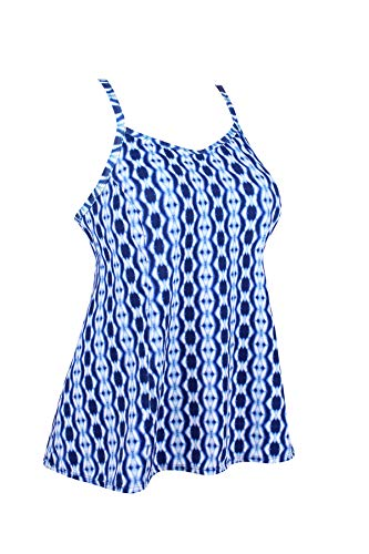JINXUEER Women's Plus Size Flowy Swimsuit Crossback Tankini Top Modest Swimwear (Bluewhite, 16)
