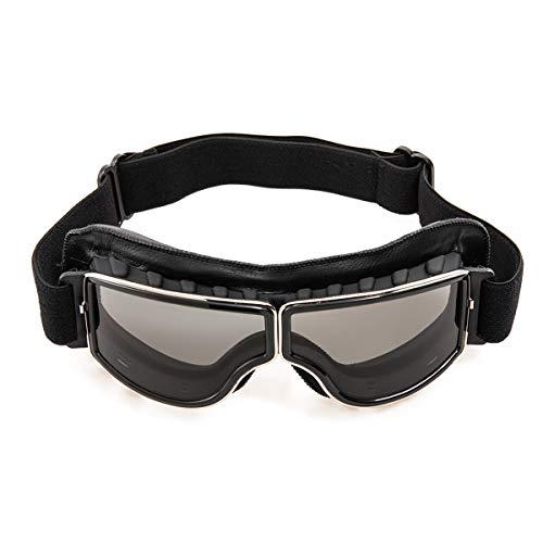 evomosa Motorradbrille PU Leder Sonnenbrillen Sportbrille Retro Radbrille für ATV Bike Motocross Brille Schutzbrille (Schwarze A)
