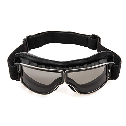 evomosa Gafas de moto Gafas de sol a prueba de viento de cuero de la PU Gafas deportivas Gafas de bicicleta retro para ATV Bike Gafas de motocross (negro A)