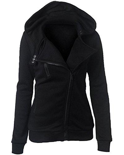 ZhuiKun Damen Sweaters Hoodie Sweatshirt Schraeg Zipper Kapuzenpllover Mantel Jacke Schwarz M