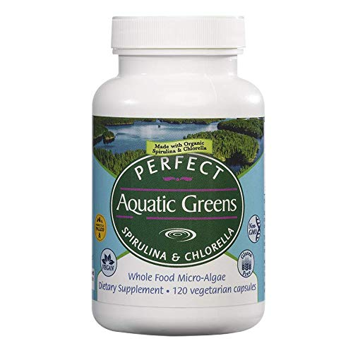 Perfect Organic Aquatic Greens - Spirulina and Chlorella - 120 Vegetable Capsules