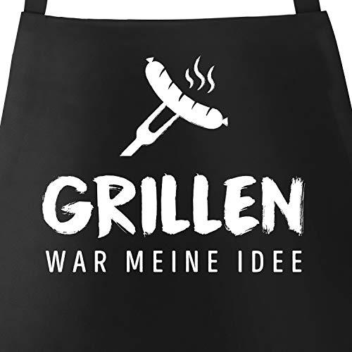 MoonWorks® Grill-Schürze für Männer mit Spruch Grillen war Meine Idee Spruch lustig Bratwurst Baumwoll-Schürze Küchenschürze schwarz Unisize