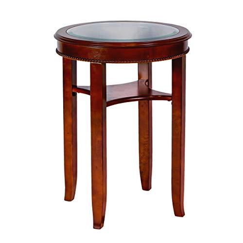All Things Cedar HR34 Glass Tea Table, Cherry