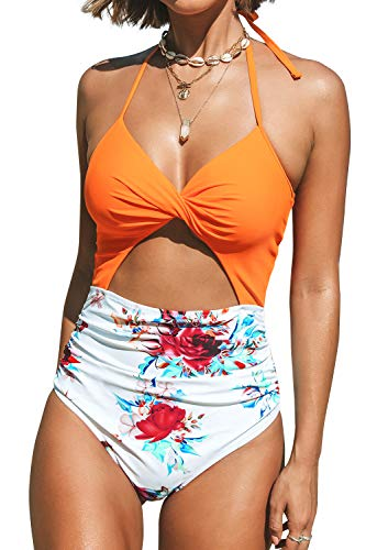 CUPSHE Women's Orange Floral Lace Up Cutout Halter One Piece Swimsuit, Medium