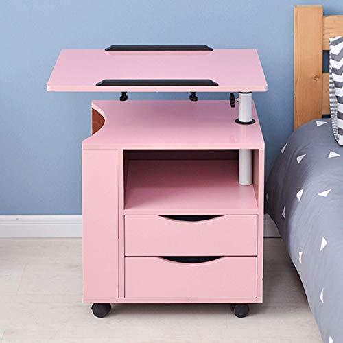 LGJ1201 Overbed Table Bedside Table Mobile Computer Desk Workstation Standing Height Adjustable Side Table, Bed Table, Sofa Table,Storage Rack With Lockable Castors(Color:Pink)