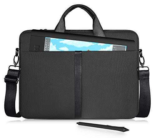 CaseDeer Portable Drawing Tablet Case for Huion Kamvas Pro 16, Wacom Cintiq 16/ Cintiq Pro 16, Wacom Intuos Pro PTH860, Wacom Carrying Shoulder Bag Protective Sleeve(Black)