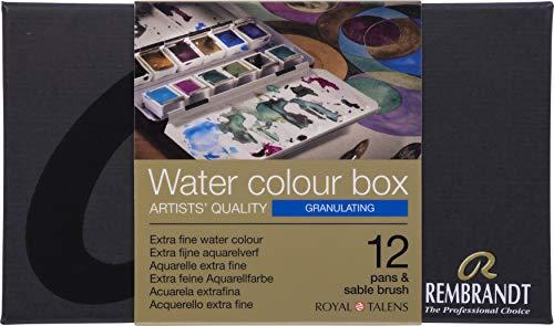 Rembrandt Water Colour Box GRANULATING extra feine Aquarellfarbe, Metallkasten mit 12 Näpfchen granulierender Farbtöne inkl. Pinsel