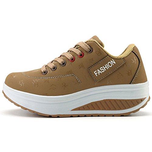 ROSEUNION Damen Mode Sneaker für Mädchen Frauen Fitness Laufen Sportschuhe Fitness-Shake Schuhe (38 EU, Khaki)