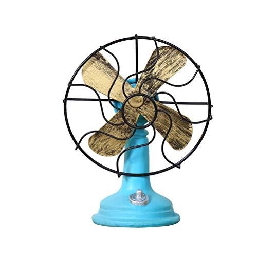 LIOOBO Ventilateur debout Vintage Non fonctionnel Bar Style Ménage Chambre Décontracté Résine Décor Vieux Artisanat Décoloration du Ventilateur Décoration (Bleu)