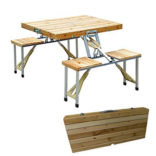 SSCJ Portátil Plegable para Acampar Mesa de Picnic y sillas Taburetes Juego Fiesta de Campo Cocina Jardín al Aire Libre Barbacoa de Aluminio Plegable con asa Mesa de una Pieza,Wooden