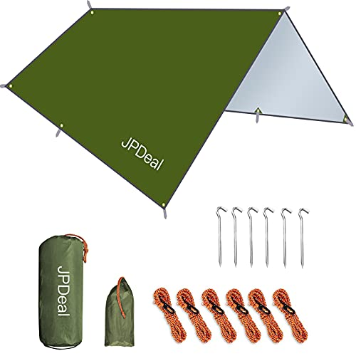 JPDeal タープ 防水タープ キャンプ タープ たーぷ 紫外線カット 遮熱 軽量 日除け アウトドア ポータブル 天幕 テント 耐水加工 レクタタープ 2-6人に適用 収納バッグ付き グリーン300