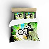 FlowerFish BMX Rider Ultra Soft Bed Set Lightweight Brushed Microfiber Fabric Bedroom Decor Best Gift for Bedroom -1Duvet Cover + 1Pillowcase, Twin Size