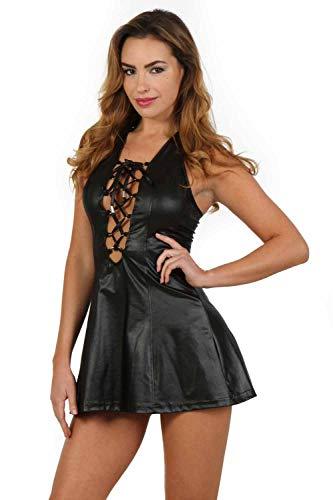Miss Noir Damen Wetlook Partykleid Sexy Kurzes Minikleid mit Tiefer Ausschnitt Schnürkorsett Clubwear Kleid (M, Schwarz)