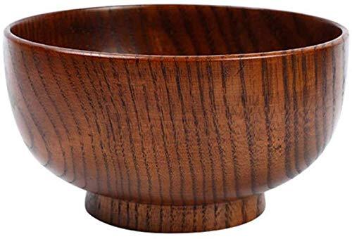 Juego de 2 cuencos de madera maciza – 14,6 cm – para decoración de arroz, sopa, salsa, postre, ensalada, fideos, sopa, comida, arroces, cuencos japoneses ramen