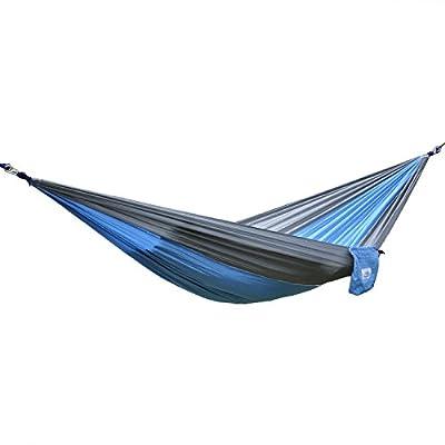 OuterEQ Portable Parachute Camping Hammocks Lightweight Nylon Fabric Travel Hammock (Grey/Light Blue, 275cm x 140cm/Single)