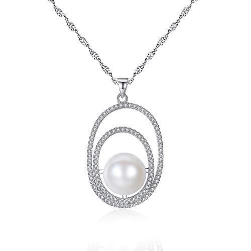 Collar cuidadosamente elegido AAA + perla cultivada de agua dulce – Blanco / plata 925 con ropa adecuada